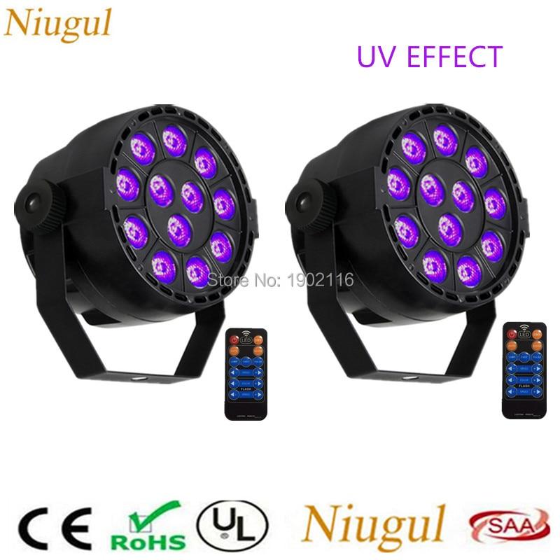 2pcs/lot Remote control 36W 12 LEDs Sound Active UV Led Stage Par Light Ultraviolet Led Spotlight Lamp purple UV DMX LED Light pro svet light psl led uv 18 dmx