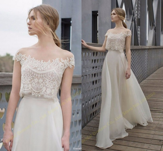 Romantic Two Piece Wedding Dresses Beautiful Ivory Lace Wedding ...