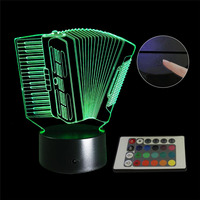 3D LED Lamp 7 Color Change Accordion Musical Instruments Girls Boys Bithday Gift Acrylic Table Night