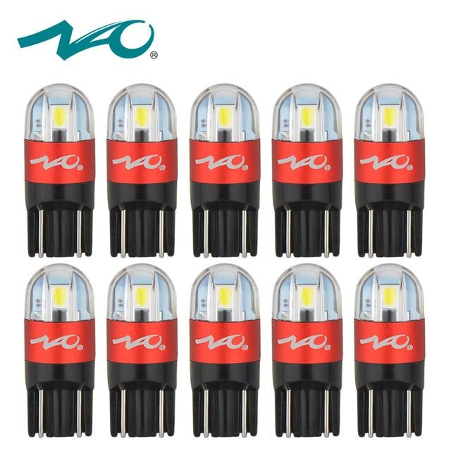 NAO 10pcs Car LED Bulbs T10 LED W5W 168 Turn Signal Auto Clearance Lights 12V License Plate Light Trunk Lamp COB White 3030 SMD