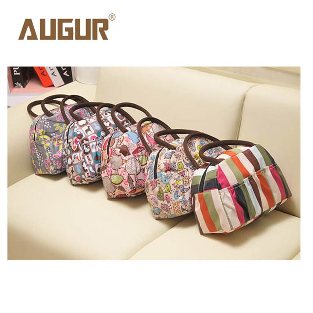 AUGUR Brand New Fashion Cartoon Lady Women Handbags Lunch Box Animal Prints Candy Color Waterproof Makeup Bags BGAP02