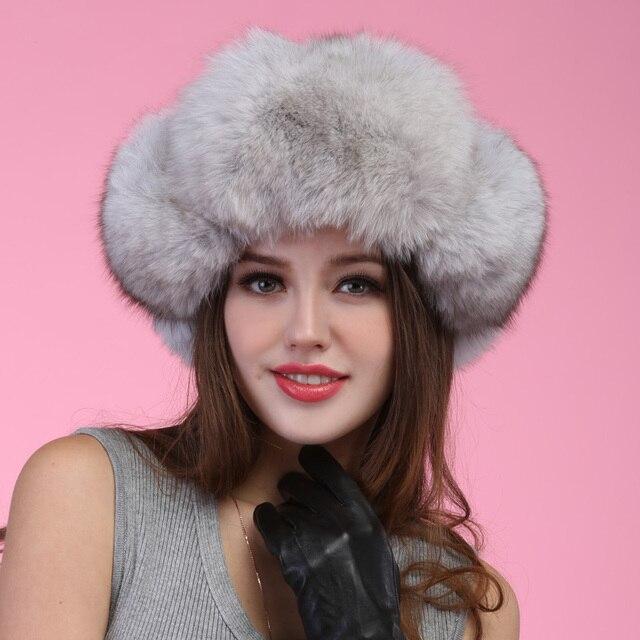 Осень зима супер теплый ниже нуля показывают , что женщины натуральный мех прекрасный русский стиль крышка леди luxur меховая шапка волосы лисицы