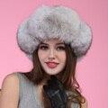 Otoño invierno muy cálido por debajo de cero mostrar mujeres piel real precioso de piel estilo de rusia señora luxur pelo sombrero de piel de piel de zorro