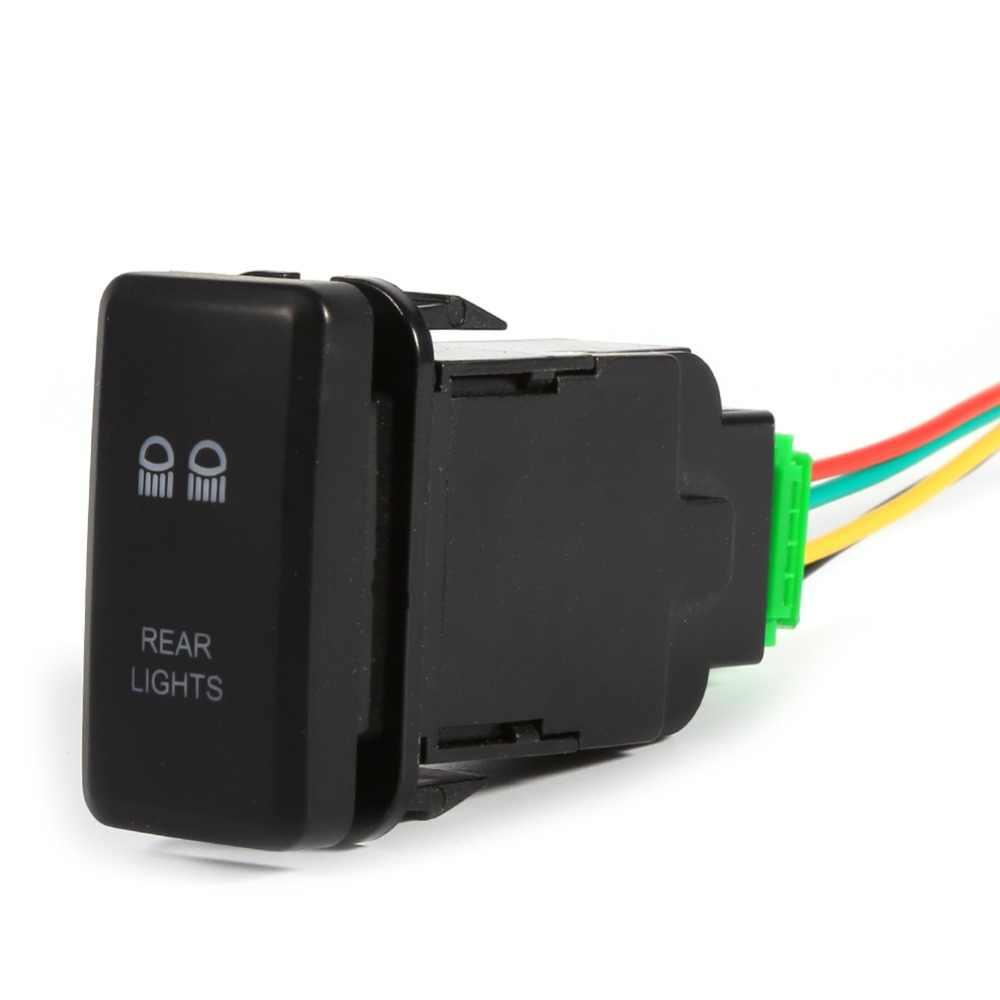 Rear Light Switch 12V 5 Pin Car Auto Push LED Rear Light Toggle Switch  Universal For Toyota Landcruiser Hilux Prado FJ HIACE