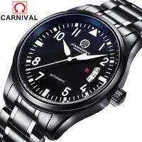 Karnawał AAA Top Luksusowa Marka Oglądać Automatyczne Mechaniczne Biznes Szafirowe Szkło stal nierdzewna all black watch