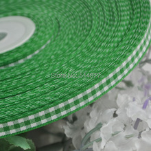 2 8 6mm Green tartan plaid ribbon bows appliques craft sewing doll Lots U pick 50Yard