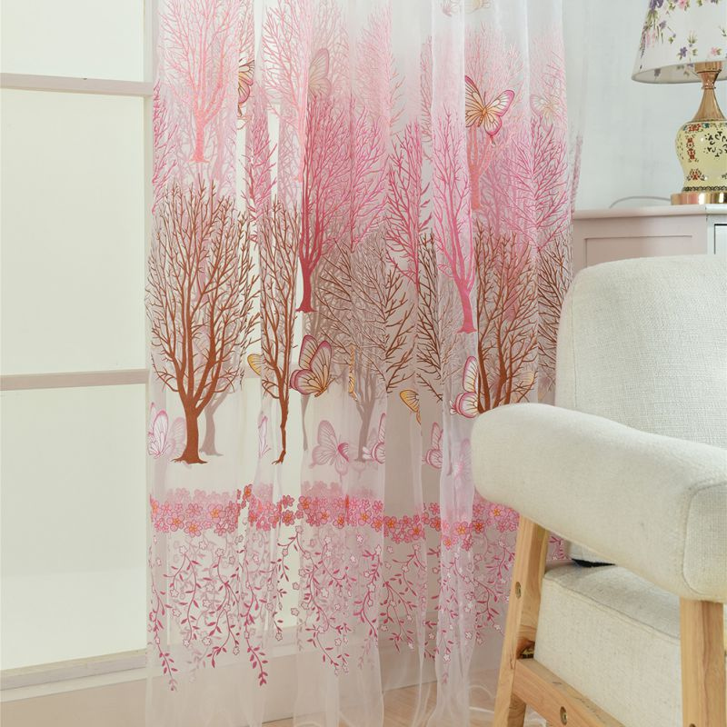 Fashionable Curtains Butterfly Window Panel Printed Scarf Curtains ...