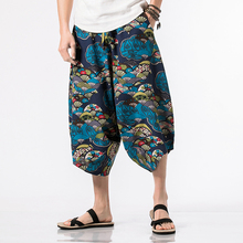 New Hip Hop Baggy Cotton Linen Drawstring Harem Pants Men Women Plus Size Wide Leg Trousers New Boho Casual Pants Cross Pants new cool cross pants male hip hop fashion baggy cotton linen harem pants men punk plus size wide leg trousers loose casual pants