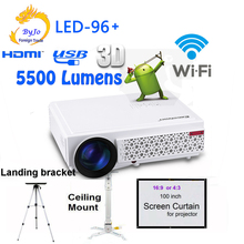 2017 New LED96+ wifi  LED Android 3D Projector 5500lumens Video  Full HDMI USB 1080p Video Multi screen Home theater projector