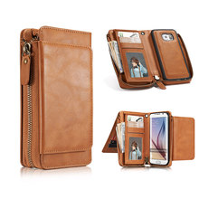 Multifunction Wallet Leather Case For Samsung S6 S7 edge S8 S8 plus Zipper Purse Pouch Phone Cases Lady Handbag Cover