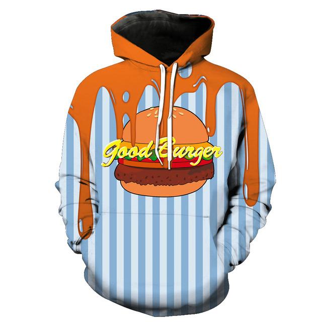 Fashion Sweatshirt Men Women Slim Unisex Stylish Burger Fries Fast Food 3D Print Hoodie