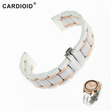 лучшая цена 20mm Ceramic Unisex Watchband For Galaxy Watch Series Accessories Plated Stainless Steel Classic Watch Band Smooth Watch Strap