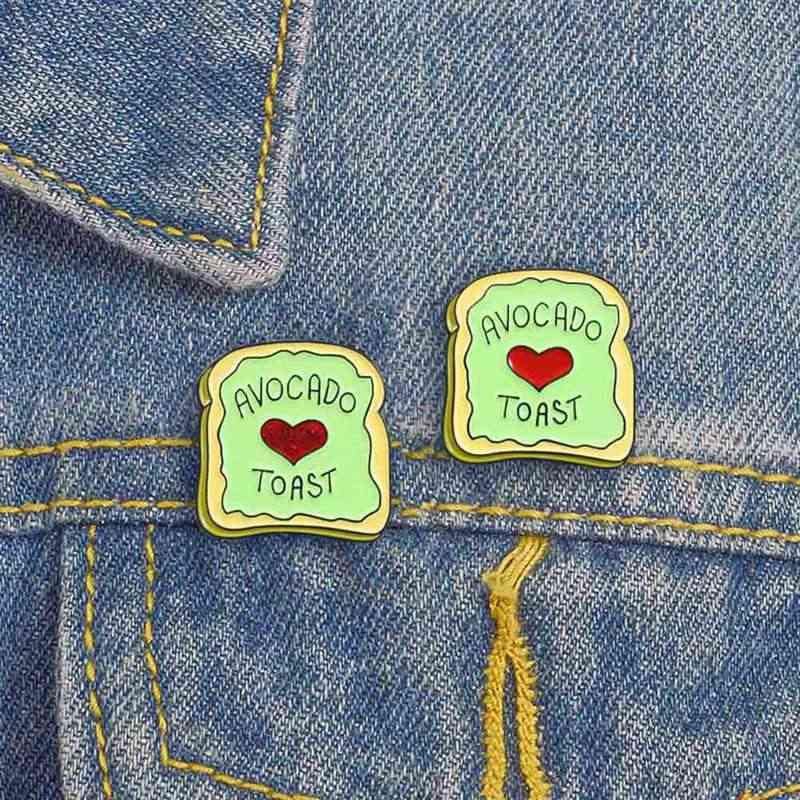 Avocat Toast broches paillettes rouge coeur plante Fruit végétarien nourriture broche T-shirt émail revers chapeau épingle Vegan Hipster Brunch cadeaux