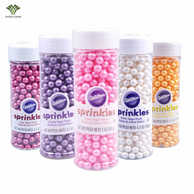 130g American Edible Sugar Pearls Sprinkles Suigar Beads Cupcake Cake Topper Picks Birthday Wedding Cake Decoration 6 Colors