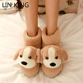 LIN KING New Fashion Women Indoor Carton Slippers Warm Comfortable Flock Flats House Shoes Sweet Dog High Top Winter Shoes