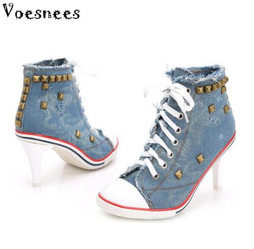 2019 New Women's shoes Denim High heels Rivets Female canvas Pumps lady's Boots Ankle Lace-Up Thick heel and Thin Heels Shoes