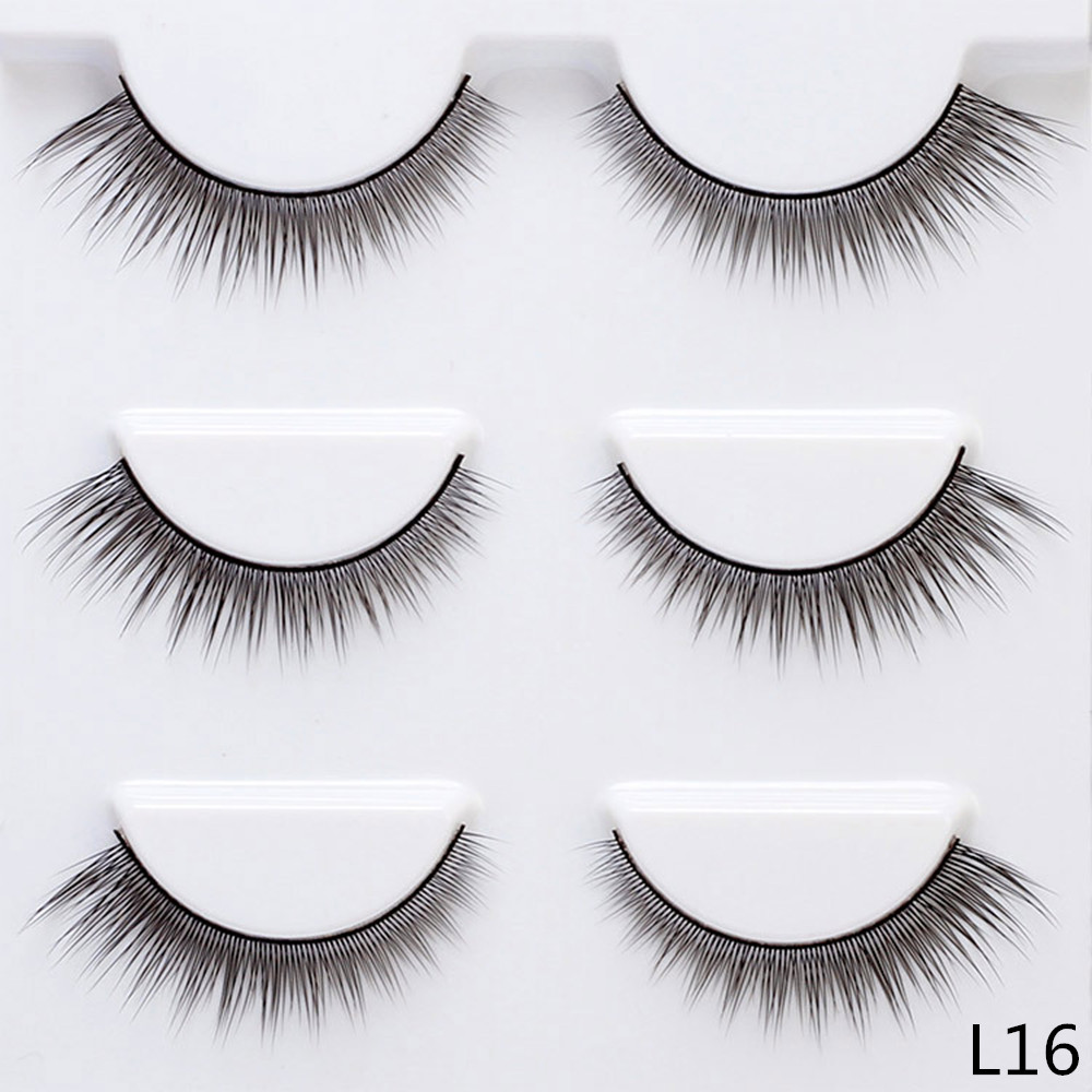 5mm-12mm Winged Thin False Eyelashes 3 Pairs Fake Lashes Natural Long Makeup Lashes Extension Eyelashes for Daily Makeup L16