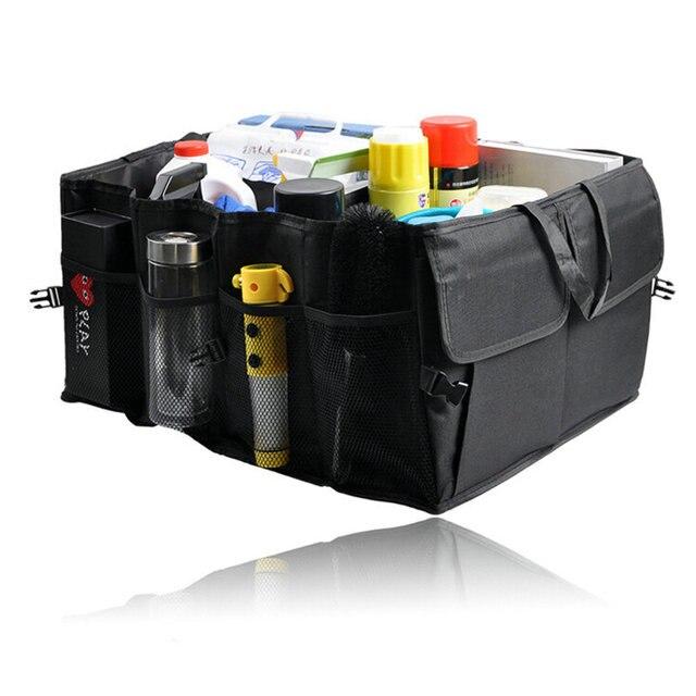Auto del coche Impermeable Plegable Protable Negro Car Boot Organizador Bolsa De Almacenamiento Caja de Almacenamiento Automático de usos Múltiples Herramientas de Organizador