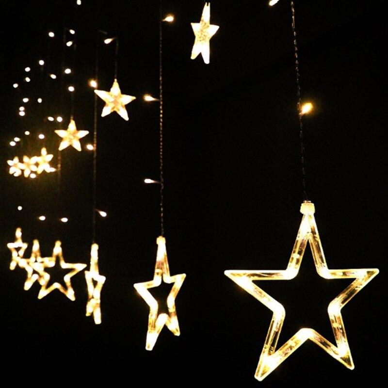 20set Christmas Lights 220V EU/US Plug 2M 168leds Romantic Fairy Star LED Curtain String Light Wedding Garland Party Decoration