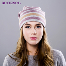 Cashmere Women Winter Hats Caps Stripe Knitted Hat Female Fashion Cap Lady Hedging Cap Cashmere Thick Beanie