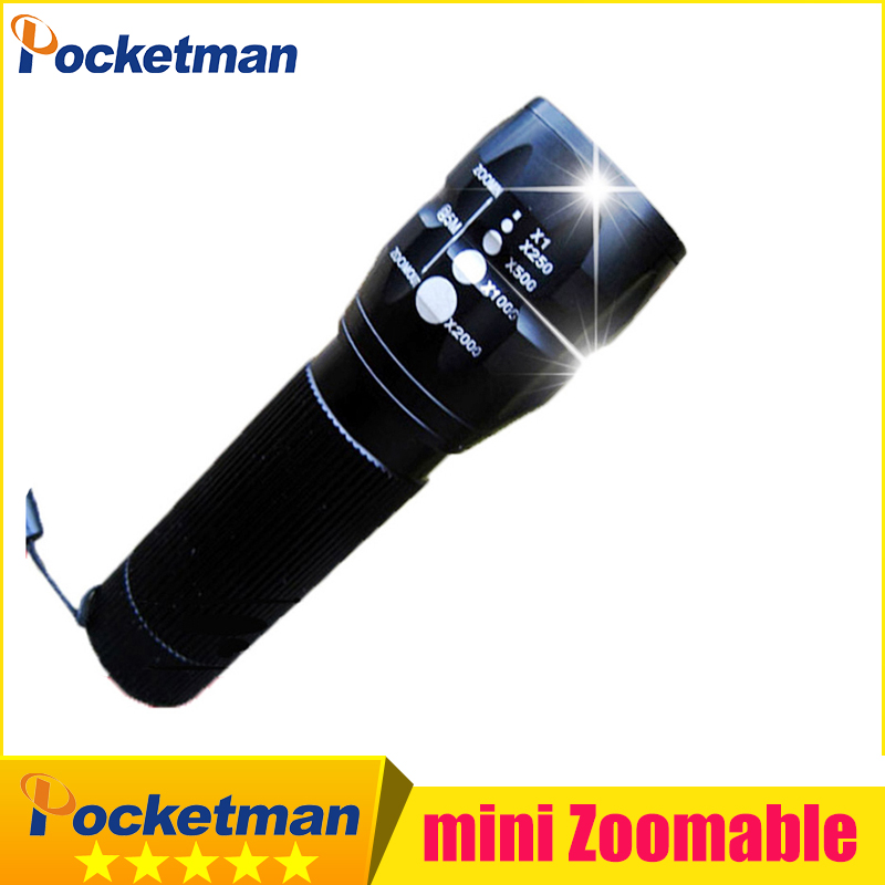Pocketman HOT Led senter 2000 Lumens Mini lanterna LED militer berburu berkemah Senter Zoomable Gratis pengiriman z15