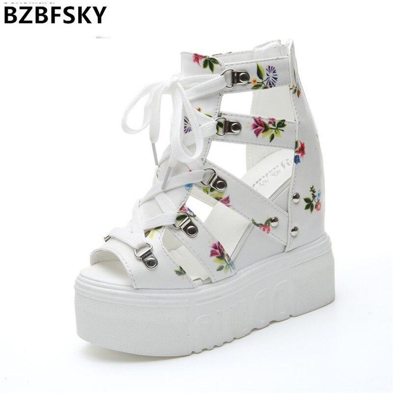 2017 Women Sandals Harajuku Summer New Fashion Platform Sandals Wedges Thick Bottom Casual Women Shoes High Heels Sandalias