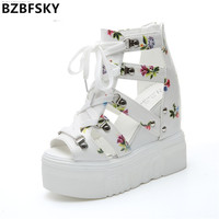 2017 Women Sandals Harajuku Summer New Fashion Platform Sandals Wedges Thick Bottom Casual Women Shoes High