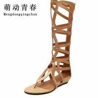 2015 Vrouwen Gladiator Sandalen Designer Sexy Hollow Knie Hoge Sandaal Mode Causale Slippers Zomer Flats Goud Zwarte Schoenen Vrouw