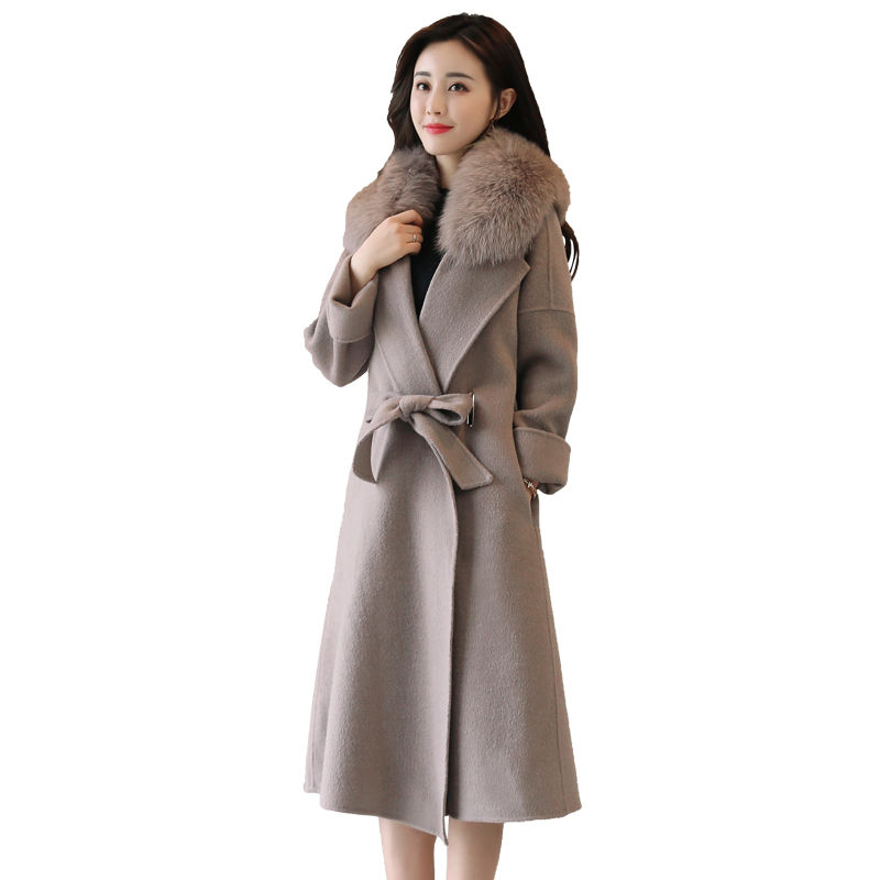 Fur Collar Wool Coat Lace Up Winter Coat Women Abrigos Long Coat Jacket Women Parka Manteau Femme Hiver Woolen Maxi Coats C3801 womens winter jackets and coats winter jacket women coat manteau femme thickened long casaco feminino inverno abrigos 001