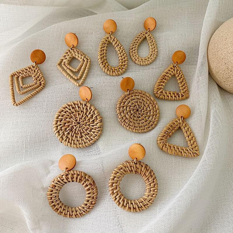 2019 New Korea Handmade Wooden Straw Woven Rattan Vine Braid Geometric Large Circle Square Long Drop Earrings For Women Girl