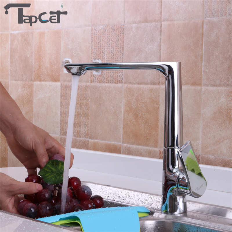 TAPCET Kitchen Bathroom Sink Faucet Single Handle Hot/Cold Water Mixer Basin Faucets Ceramic Valve Deck Mount Copper Body Faucet ulgksd bathroom faucet dual switch deck mount hot and cold water mixer tap para vanity sink faucets mixing valve