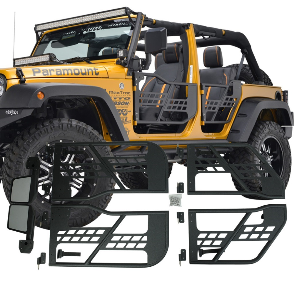 set j196 black steel half front rear tube doors with side mirror for jeep wrangler jk 07 17 4 doors in car light assembly from automobiles motorcycles on  [ 1000 x 1000 Pixel ]