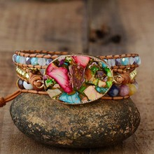 Эксклюзивные женские браслеты, натуральный камень, стразы, 3 слоя кожи, Браслет-манжета, женские браслеты, подарки, Прямая поставка