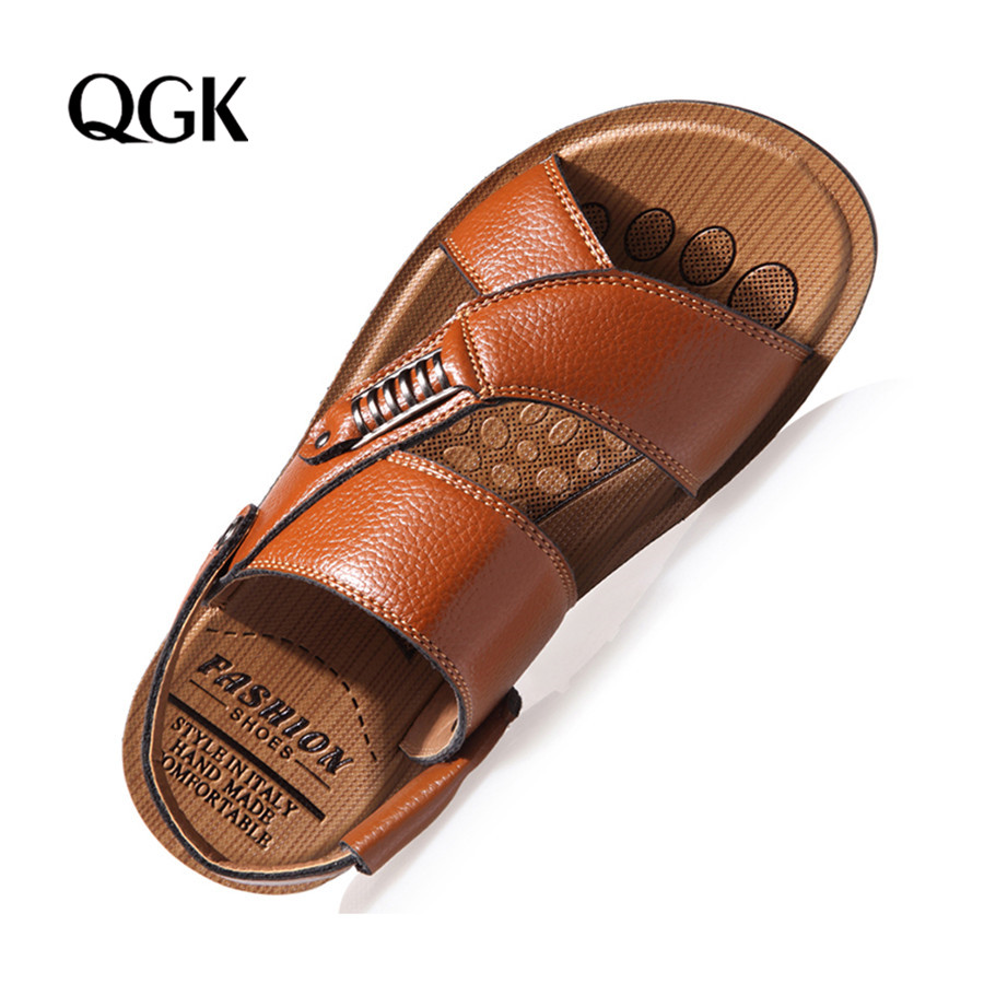 <font><b>Men</b></font> <font><b>Sandals</b></font> <font><b>Summer</b></font> Genuine Leather Roman <font><b>Sandals</b></font> <font><b>Men</b></font> Casual Shoes Beach Flip Flops <font><b>Men</b></font> <font><b>Fashion</b></font> <font><b>Outdoor</b></font> Slippers Shoes Sneakers image