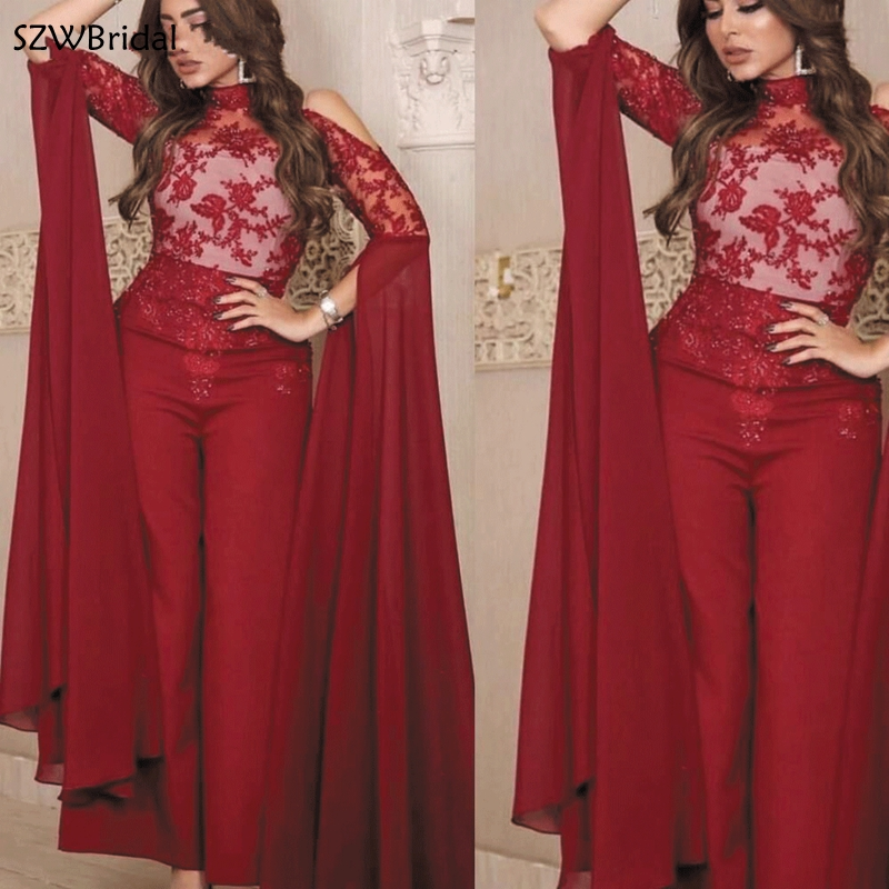 New Arrival Burgundy Jumpsuits evening dresses 2019 Lace Applique Beaded Arabic Pants evening dress Party Formal dress