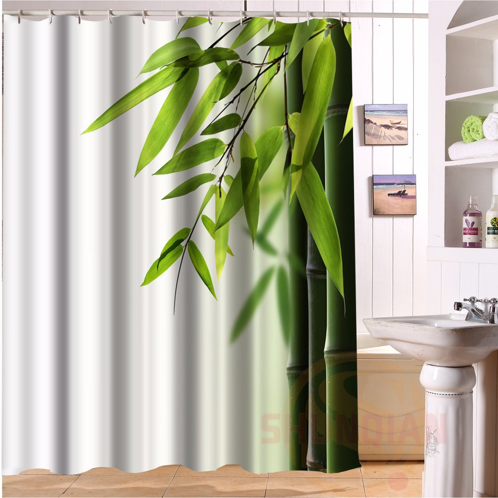 H-P035 Custom Home Decor Large bamboo#35 Fabric Moden Shower Curtain European Style bathroom Waterproof H#035