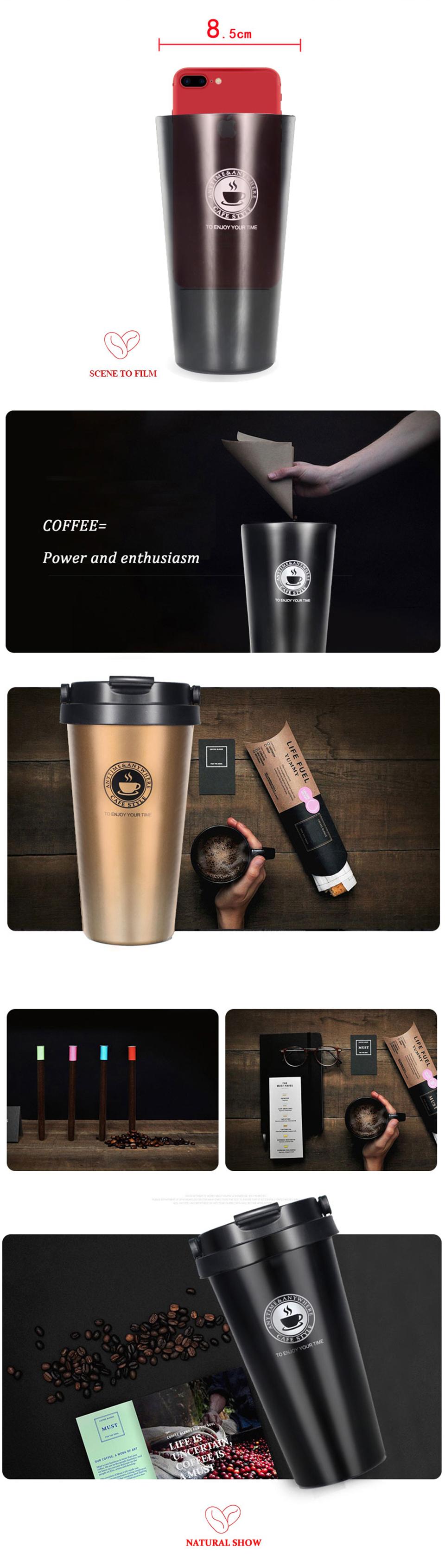 LIYIMENG 500mL Office Travel Coffee Mug 304 Stainless Steel Classical Mug Milk Tea Cup Water Bottle 2