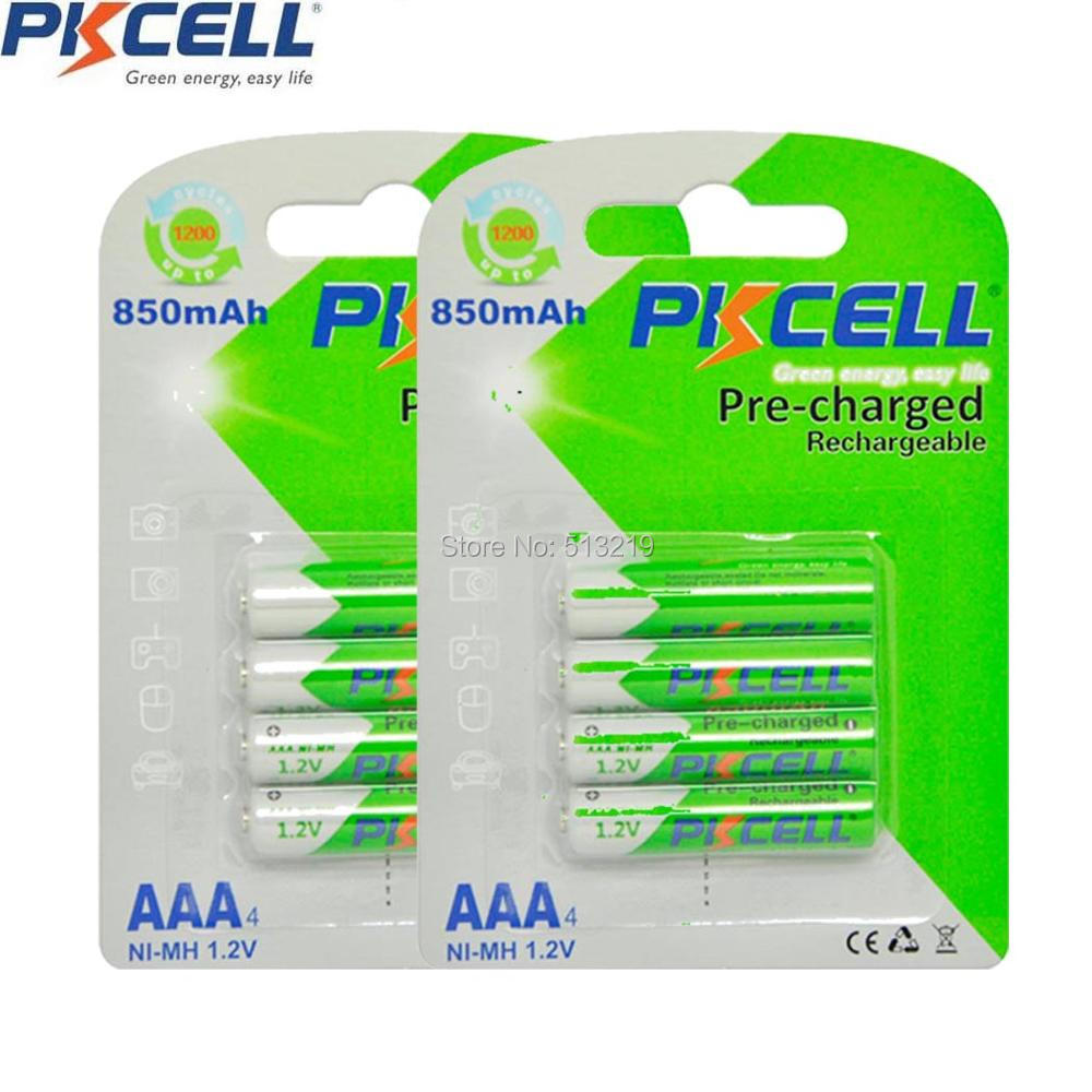 8Pcs/2Pack PKCELL 1.2V AAA NIMH Rechargeable Battery in 850mah capacity
