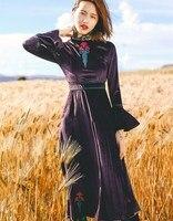 Jessica's Store Autumn Winter Women Vintage Palace Style O Neck Flare Sleeve Embroidery Elegant Slim Purple Velvet Long Dress