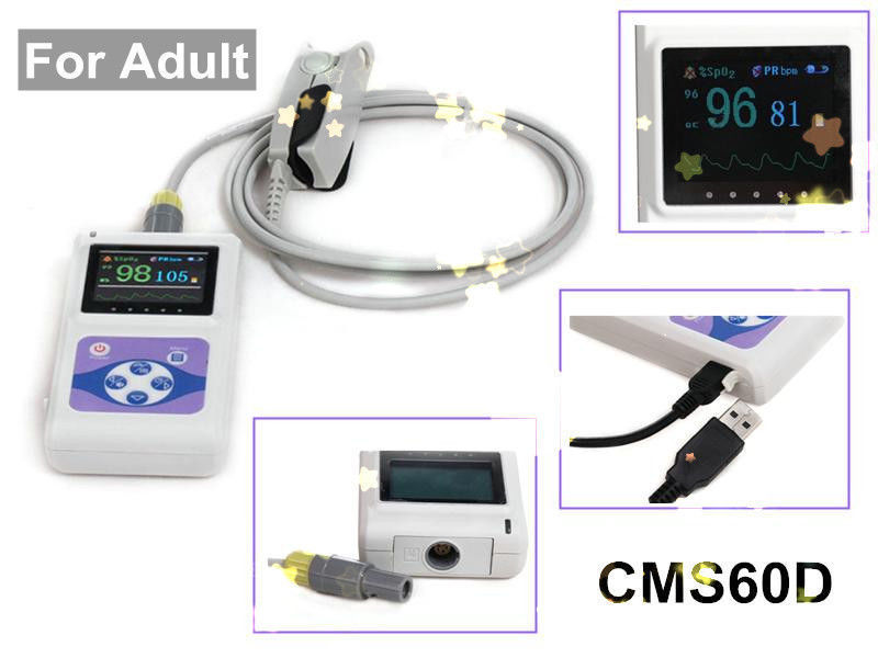 NEW FDA CE Handheld Pulse Oximeter Spo2 Monitor +PC Software CMS60D