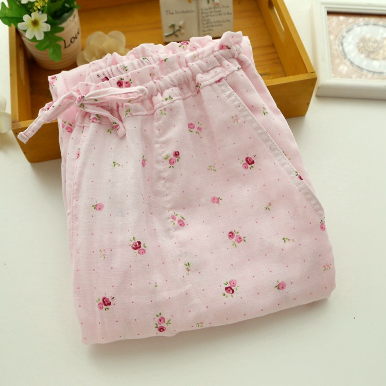 Fresh Floral Printed 2017 Spring Summer Pants Sleeping Women Pants For Home Cotton Pajama Bottoms Plus Size Sleep Trousers E1165 1