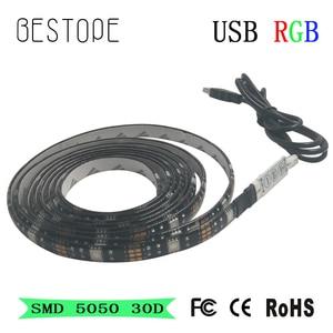 2M 5050 USB Led Strip 30leds RGB 5V light Waterproof/NON Waterproof for TV Background Computer home car kid room decor