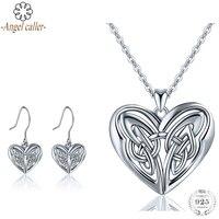 Angel Caller 925 Sterling Silver Jewelry Sets Love Heart Pendant Necklaces Dangle Earrings for Women Girls Fine Jewelry