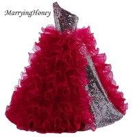 Pretty One Shoulder Sliver Sequined Ball Gown Flower Girl Dresses 2017 Ruffles Burgundy Floor Length Party
