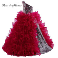 Pretty One Shoulder Sliver Sequined Ball Gown Flower Girl Dresses 2017 Ruffles Burgundy Floor Length Party