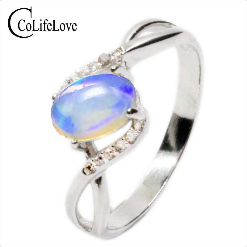 цена на Promotion opal stone ring 0.5ct 4*6mm natural Australian opal gemstone silver ring solid 925 sterling silver opal ring for lady