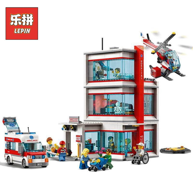 Lepin 02113 964Pcs City Series Legoing 60204 City Hospital Set Building Blocks Bricks Educational Toys As Birthday Gifts Model