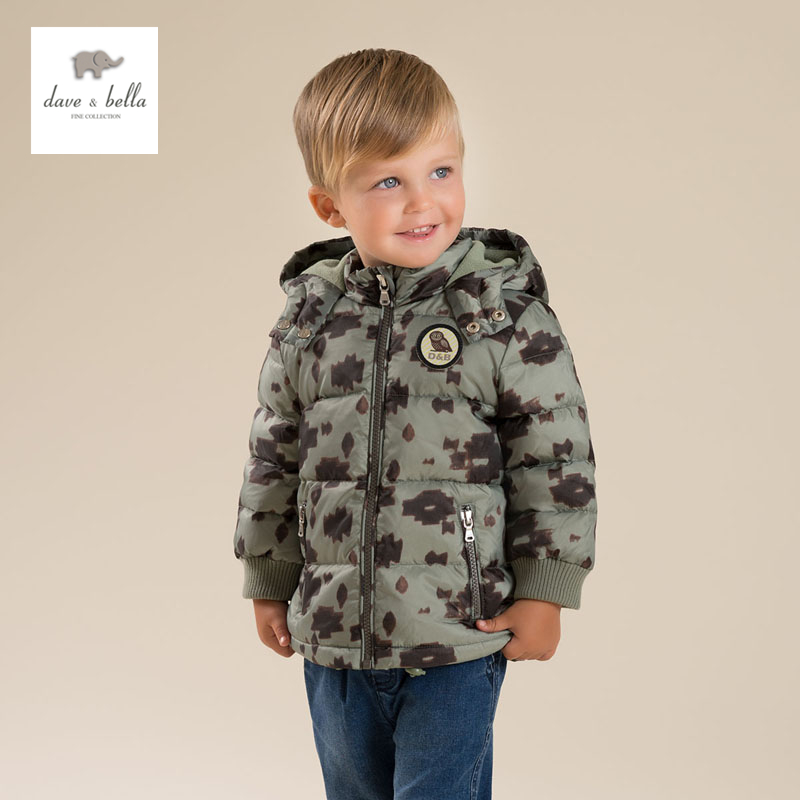 DB4692 dave bella  winter infant coat baby boys camouflage white duck down coat down padded hooded coat db4631 dave bella winter infant coat baby girls red dots printed coat white duck down padded coat hooded outerwear