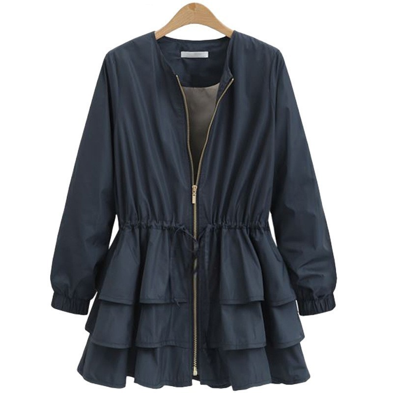 LANMREM 2019 New Spring Fashion Tide Black O-neck Long Sleeve Patchwork Cascading Ruffles Loose Big Size Woman Coat SA873