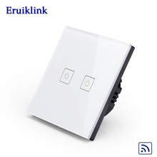 Eruiklink Manufacturer, EU / UK Standard Remote Control Switch Screen Wall Switch, 2 Gang 1 Way RF433 Smart Wall Switch